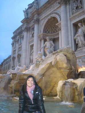 Anggie in Rome at Fontana de Trevi.